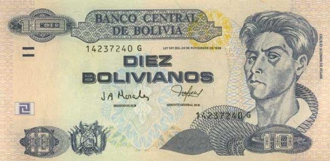 Боливийский боливиано. Купюра номиналом в 10 BOB, аверс (лицевая сторона).