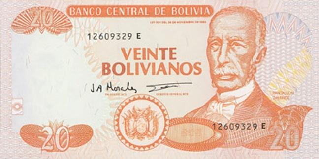 Боливийский боливиано. Купюра номиналом в 20 BOB, аверс (лицевая сторона).