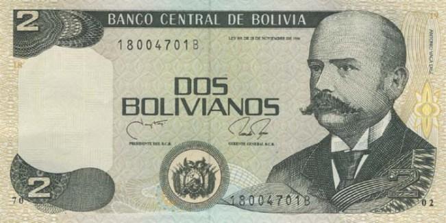 Боливийский боливиано. Купюра номиналом в 2 BOB, аверс (лицевая сторона).