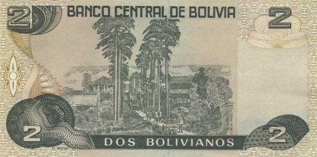 Боливийский боливиано. Купюра номиналом в 2 BOB, реверс (обратная сторона).