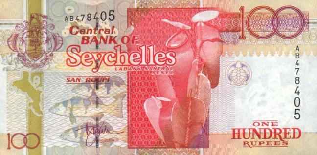 Сейшельская рупия. Купюра номиналом в 100 SCR, аверс (лицевая сторона).