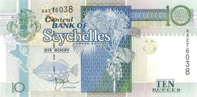 Сейшельская рупия. Купюра номиналом в 10 SCR, аверс (лицевая сторона).