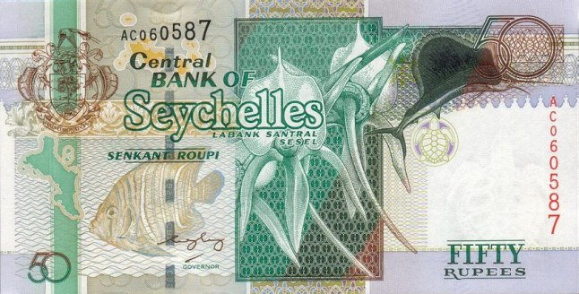 Сейшельская рупия. Купюра номиналом в 50 SCR, аеверс.