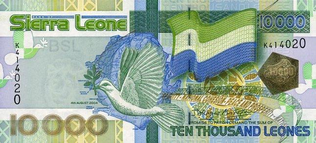 Сьерра-Леонский леоне. Купюра номиналом в 10000 SLL, аверс (лицевая сторона).