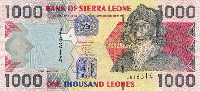 Сьерра-Леонский леоне. Купюра номиналом в 1000 SLL,аеверс.