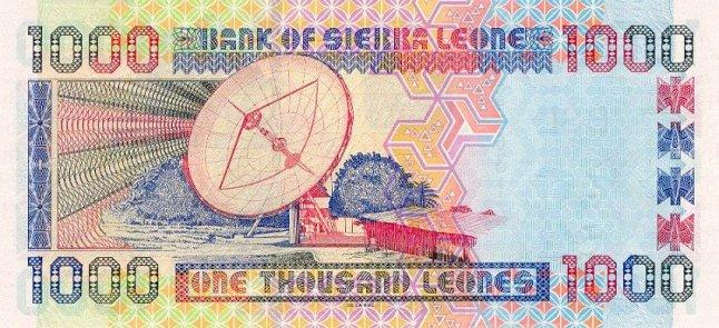 Сьерра-Леонский леоне. Купюра номиналом в 1000 SLL, реверс (обратная сторона).