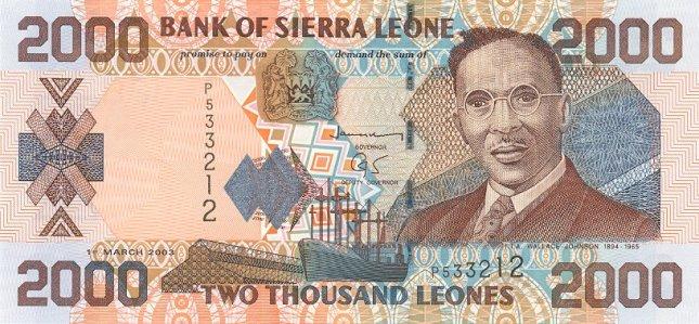 Сьерра-Леонский леоне. Купюра номиналом в 2000 SLL, аверс (лицевая сторона).