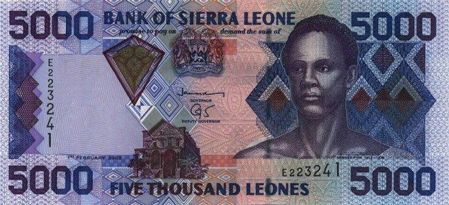 Сьерра-Леонский леоне. Купюра номиналом в 5000 SLL, аверс (лицевая сторона).