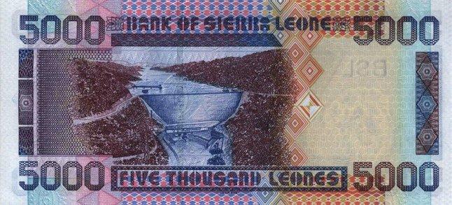 Сьерра-Леонский леоне. Купюра номиналом в 5000 SLL, реверс (обратная сторона).