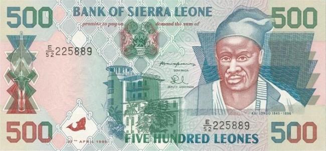 Сьерра-Леонский леоне. Купюра номиналом в 500 SLL, аверс (лицевая сторона).