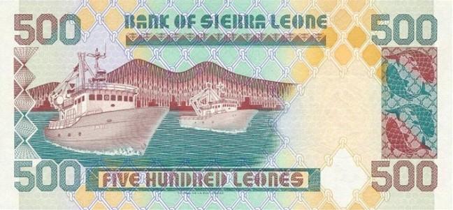 Сьерра-Леонский леоне. Купюра номиналом в 500 SLL, реверс (обратная сторона).