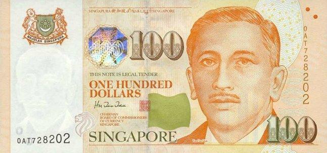 Сингапурский доллар. Купюра номиналом в 100 SGD, аверс (лицевая сторона).