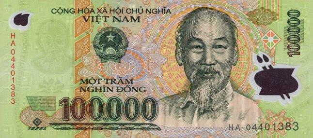 Вьетнамский донг. Купюра номиналом в 100000 VND, аверс (лицевая сторона).