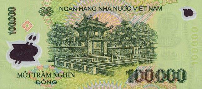 Вьетнамский донг. Купюра номиналом в 100000 VND, реверс (обратная сторона).