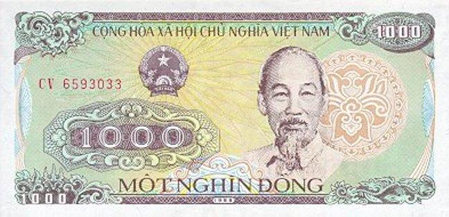 Вьетнамский донг. Купюра номиналом в 1000 VND, аверс (лицевая сторона).