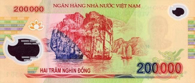 Вьетнамский донг. Купюра номиналом в 200000 VND, реверс (обратная сторона).