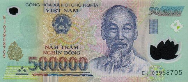 Вьетнамский донг. Купюра номиналом в 500000 VND, аверс (лицевая сторона).