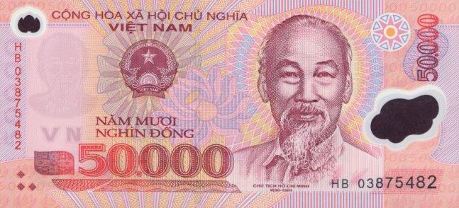 Вьетнамский донг. Купюра номиналом в 50000 VND, аверс (лицевая сторона).