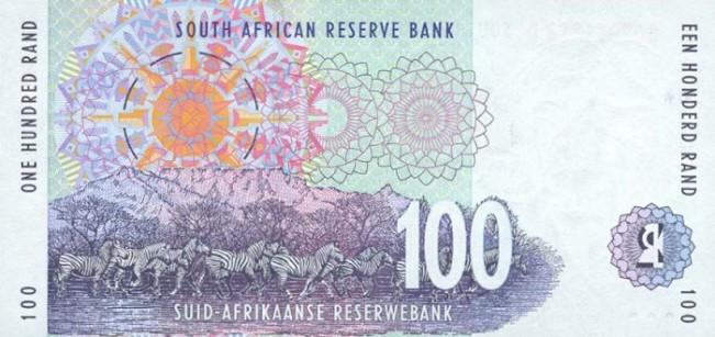Южноафриканский рэнд. Купюра номиналом в 100 ZAR, реверс (обратная сторона).