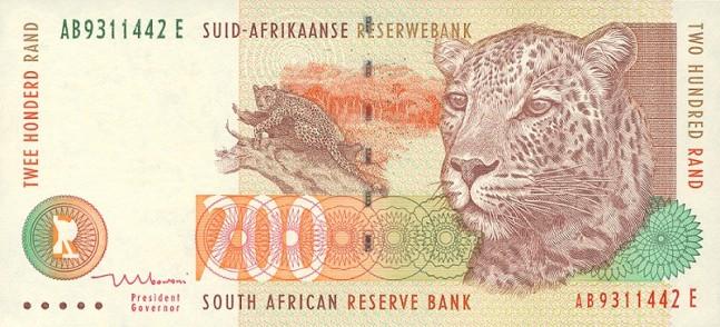 Южноафриканский рэнд. Купюра номиналом в 200 ZAR, аверс (лицевая сторона).