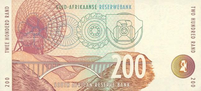 Южноафриканский рэнд. Купюра номиналом в 200 ZAR, реверс (обратная сторона).