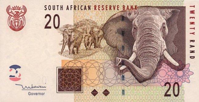 Южноафриканский рэнд. Купюра номиналом в 20 ZAR, аверс (лицевая сторона).