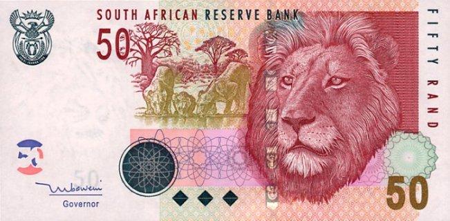 Южноафриканский рэнд. Купюра номиналом в 50 ZAR, аверс (лицевая сторона).