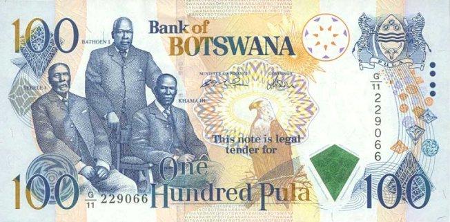Ботсванская пула. Купюра номиналом в 100 BWP, аверс (лицевая сторона).