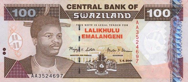 Свазилендский лилангени. Купюра номиналом в 100 SZL, аверс (лицевая сторона).