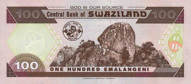 Свазилендский лилангени. Купюра номиналом в 100 SZL, реверс (обратная сторона).