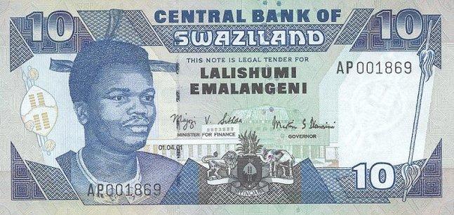 Свазилендский лилангени. Купюра номиналом в 10 SZL, аверс (лицевая сторона).