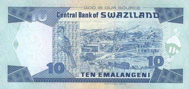 Свазилендский лилангени. Купюра номиналом в 10 SZL, реверс (обратная сторона).