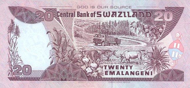 Свазилендский лилангени. Купюра номиналом в 20 SZL, реверс (обратная сторона).
