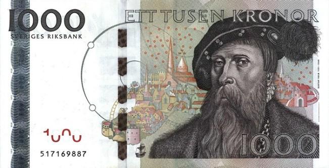 Шведская крона. Купюра номиналом в 1000 SEK, аверс (лицевая сторона).