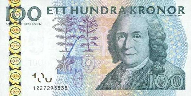 Шведская крона. Купюра номиналом в 100 SEK, аверс (лицевая сторона).