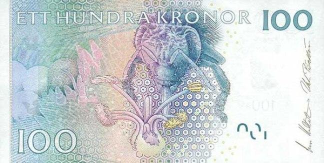 Шведская крона. Купюра номиналом в 100 SEK, реверс (обратная сторона).