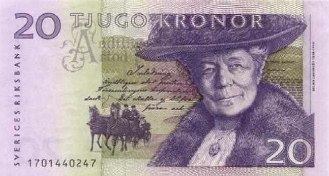 Шведская крона. Купюра номиналом в 20 SEK, аверс (лицевая сторона).
