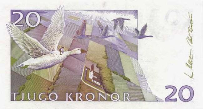 Шведская крона. Купюра номиналом в 20 SEK, реверс (обратная сторона).