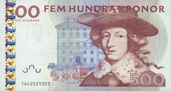 Шведская крона. Купюра номиналом в 500 SEK, аверс (лицевая сторона).
