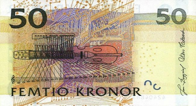 Шведская крона. Купюра номиналом в 50 SEK, реверс (обратная сторона).