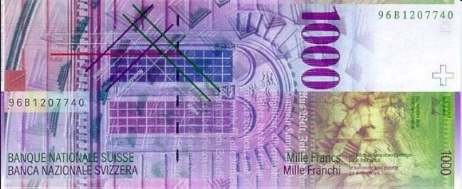 Швейцарский франк. Купюра номиналом в 1000 CHF, реверс (обратная сторона).