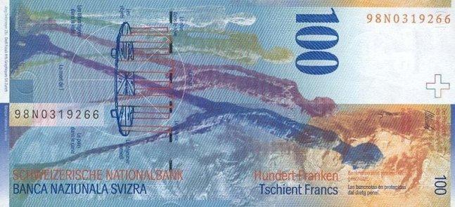 Швейцарский франк. Купюра номиналом в 100 CHF, реверс (обратная сторона).
