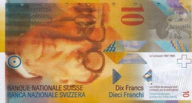 Швейцарский франк. Купюра номиналом в 10 CHF, аверс (лицевая сторона).
