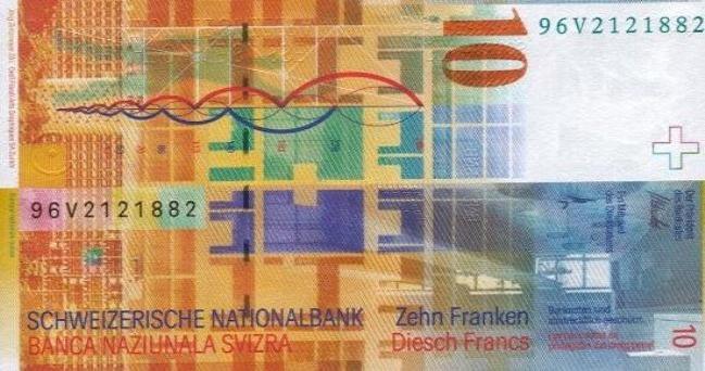 Швейцарский франк. Купюра номиналом в 10 CHF, реверс (обратная сторона).