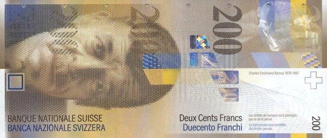 Швейцарский франк. Купюра номиналом в 200 CHF, аверс (лицевая сторона).