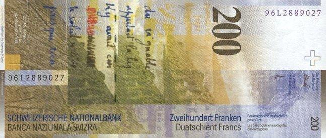 Швейцарский франк. Купюра номиналом в 200 CHF, реверс (обратная сторона).