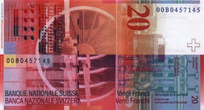Швейцарский франк. Купюра номиналом в 20 CHF, реверс (обратная сторона).