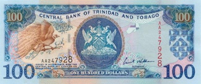 Доллар Тринидад и Тобаго. Купюра номиналом в 100 TTD, аверс (лицевая сторона).