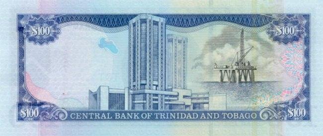 Доллар Тринидад и Тобаго. Купюра номиналом в 100 TTD, реверс (обратная сторона).