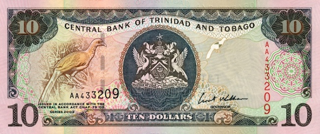 Доллар Тринидад и Тобаго. Купюра номиналом в 10 TTD, аверс (лицевая сторона).